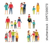 family flat icons set.... | Shutterstock .eps vector #1097230073
