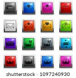 envelope vector icons in square ... | Shutterstock .eps vector #1097240930