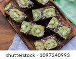 homemade raw raw chocolate cake ... | Shutterstock . vector #1097240993
