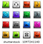 office vector icons in square... | Shutterstock .eps vector #1097241140