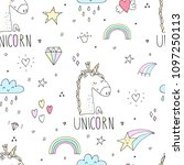 cute unicorn vector pattern | Shutterstock .eps vector #1097250113