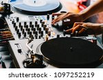 dj equipment deck with music... | Shutterstock . vector #1097252219