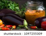 vegan food   green tomato ... | Shutterstock . vector #1097255309