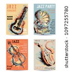 jazz music party with musical... | Shutterstock .eps vector #1097255780