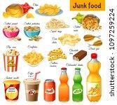 set junk food. salted nuts ... | Shutterstock .eps vector #1097259224