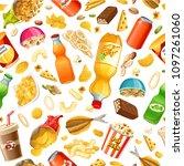 set junk food. salted nuts ... | Shutterstock .eps vector #1097261060