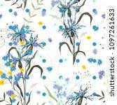 retro wild seamless flower... | Shutterstock .eps vector #1097261633