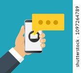 mobile messenger chat  hands...   Shutterstock .eps vector #1097264789