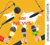 hot news  mass media concept.... | Shutterstock .eps vector #1097265578