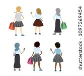 set of characters schoolgirls... | Shutterstock .eps vector #1097269454