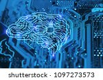artificial intelligence brain... | Shutterstock . vector #1097273573