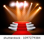 showroom with a red carpet and... | Shutterstock .eps vector #1097279384