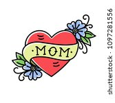 tatoo with mom inscription in... | Shutterstock .eps vector #1097281556