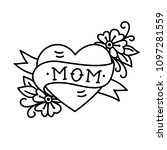 tatoo with mom inscription in... | Shutterstock .eps vector #1097281559
