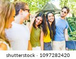group of best friends at park... | Shutterstock . vector #1097282420