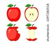 whole red apple  half apple... | Shutterstock .eps vector #1097283518