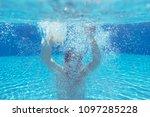 teenage boy  relaxing in blue... | Shutterstock . vector #1097285228