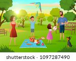 happy family enjoying picnic on ... | Shutterstock .eps vector #1097287490