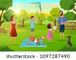 happy family enjoying picnic on ...   Shutterstock .eps vector #1097287490