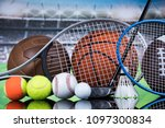 assorted sports equipment | Shutterstock . vector #1097300834