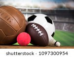 sport equipment and balls ... | Shutterstock . vector #1097300954