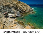 rocky coast. beach in greece.... | Shutterstock . vector #1097304170