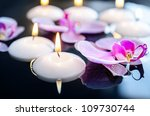 floating candle and orchid... | Shutterstock . vector #109730744