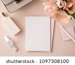 flat lay composition in pink... | Shutterstock . vector #1097308100