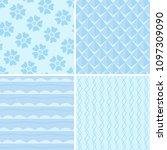 set of 4 blue seamless baby... | Shutterstock .eps vector #1097309090