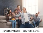 goal. very excited friends... | Shutterstock . vector #1097311643