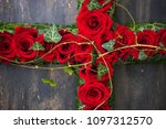 red roses in floral funerary... | Shutterstock . vector #1097312570
