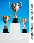 cups of winners award on white... | Shutterstock . vector #1097315336