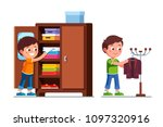smiling preschool boys kids... | Shutterstock .eps vector #1097320916