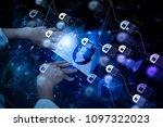 blockchain technology concept... | Shutterstock . vector #1097322023