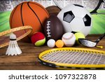 sport equipment  soccer tennis... | Shutterstock . vector #1097322878