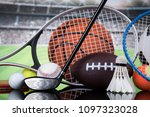 assorted sports equipment | Shutterstock . vector #1097323028
