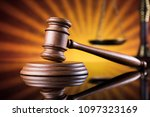 law wooden gavel barrister ... | Shutterstock . vector #1097323169