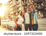 group of friends hangout at the ... | Shutterstock . vector #1097323400