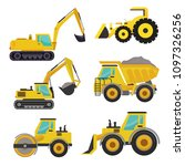 set of groundworks machines... | Shutterstock .eps vector #1097326256