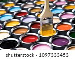 colorful paint cans with... | Shutterstock . vector #1097333453