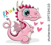 cute cartoon dragon isolated on ... | Shutterstock .eps vector #1097334110
