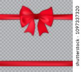 realistic red bow and satin on... | Shutterstock .eps vector #1097337320
