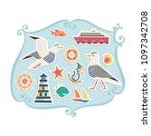 nautical poster concept. set of ... | Shutterstock . vector #1097342708