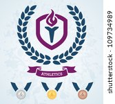 athletics emblem and medals for ... | Shutterstock .eps vector #109734989