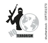 terrorist with weapon. stop... | Shutterstock .eps vector #1097351573