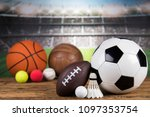 sport equipment and balls ... | Shutterstock . vector #1097353754