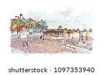 edinburgh castle is a historic... | Shutterstock .eps vector #1097353940