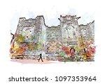 edinburgh castle is a historic... | Shutterstock .eps vector #1097353964