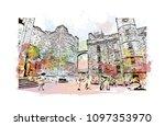 edinburgh castle is a historic... | Shutterstock .eps vector #1097353970