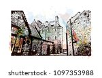 edinburgh castle is a historic... | Shutterstock .eps vector #1097353988